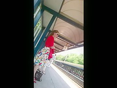 Upskirt Escalator 27 - Blond Milf Nice Red Panties