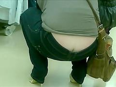 Candid ass crack jeans