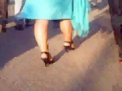 Offene Heels und Strumpfhose
