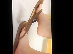 Candid Sexy Feet Painted Toes in Flip Flop College