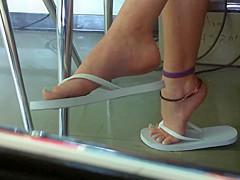 Candid 18yo Feet in Class