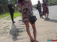 Provocative skinny butt in the hot upskirt scene
