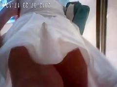 White panties under white dress