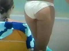 Candid Ass in white bikini