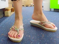 Public Solo Naked Feet in Flip Flops