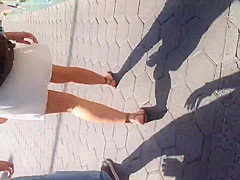 White girl in see thru white skirt