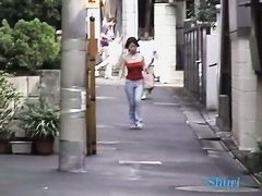 Sexy asian babe gets her skirt pulled down