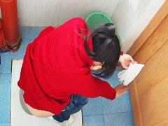 女子トイレでジーパンを下してうんこするスレンダー美人さんを無修正盗撮