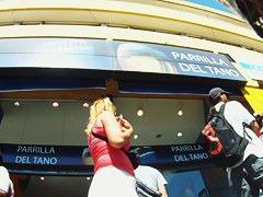 Glamorous blonde in long skirt waiting for somebody