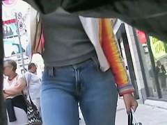 Splendid woman in blue jeans has the sexiest ass ever