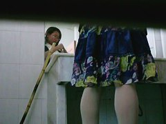 Asian cutie with glasses pissing in front of a spy cam