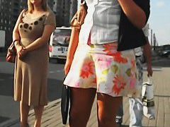Hot public candid upskirt video of a white unsuspecting slut