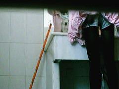 Hidden pee video of a beautiful asian teen brunette