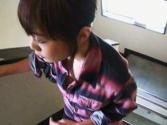 Beautiful japanese brunette downblouse vid