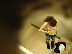 Two hot chicks voyeur changing room video