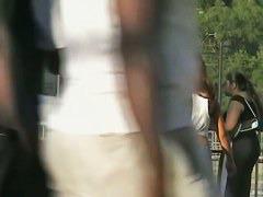 Upskirt voyeur dark skinned brunette chick