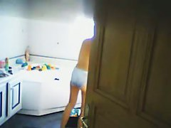 Gorgeous wife filmed by her amateur voyeur husband.