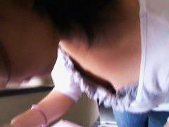 Japanese woman filmed downblouse by randy voyeurs.
