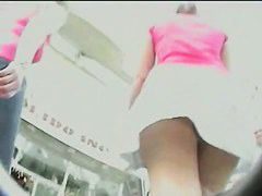 Upskirt video shows a voyeur on the hunt for gaping butts.