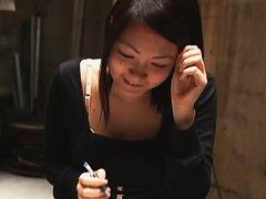 Beautiful Japanese chick falls victim to a couple of downblouse voyeurs.