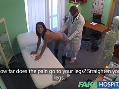 Captivating youthful pole dancer with sexy body swallows the doctors medicine