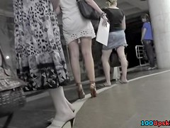 Bewitching blond in spy upskirt vid