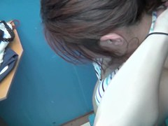 Bikini bra downblouse recorded in the changing room shp27