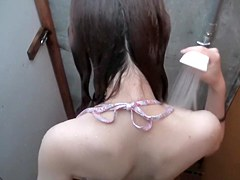 Changing room amateur is gonna take shower in bikini shp28