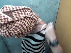 Asian girl towels and gets dressed after the shower shp35