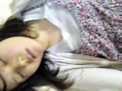 Man sliding dick over sleeping Asian chicks mouth lips nrh003 00