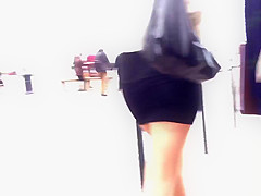 Sexy mini skirt legs high heel