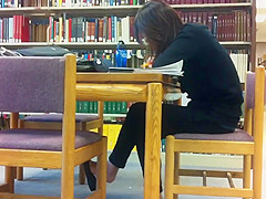 Candid Asian Library Feet Shoeplay Flats Dangling Pt 1