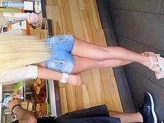 Sexy blonde Barbie doll ass
