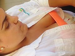 Latina down blouse vid1