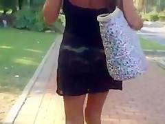Walking slut in green thong