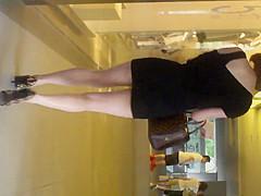 Upskirt - Girl in tight miniskirt and leopard pump