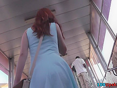 The best upskirt scene by redhead in cute thong