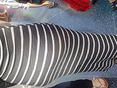Fat ass Columbian in gray dress