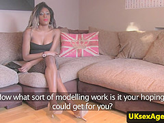 Casted ebony pussyfucked during interview