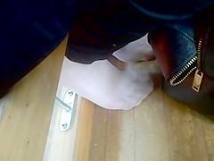 candid nylon bare feet