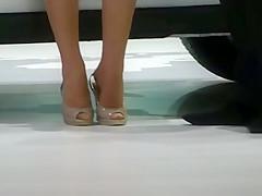 Candid Beautiful Hostess Shoeplay Feet Nylons Legs Dipping