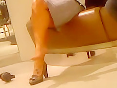 Candid Blonde Mature Trying on Sexy Heels Feet Legs