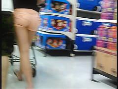 Peach Booty Shorts Candid