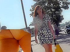 Outstanding upskirt milf presents her tasty buttox