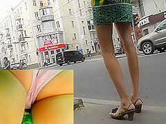 Sexy upskirt ass of the slim girl with panty pad