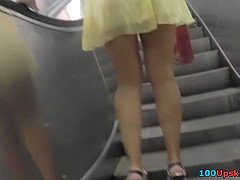 Best upskirt video with slim babe in sexy mini skirt