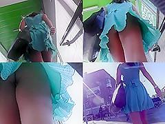 Divine upskirt xxx video about teen's G-string