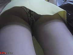 Public upskirts scene with young puss and her boyfriend