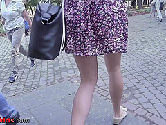 Unforgettable upskirt clip with lonely brunette peach