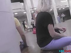 Blonde gal got filmed in the upskirt free scene